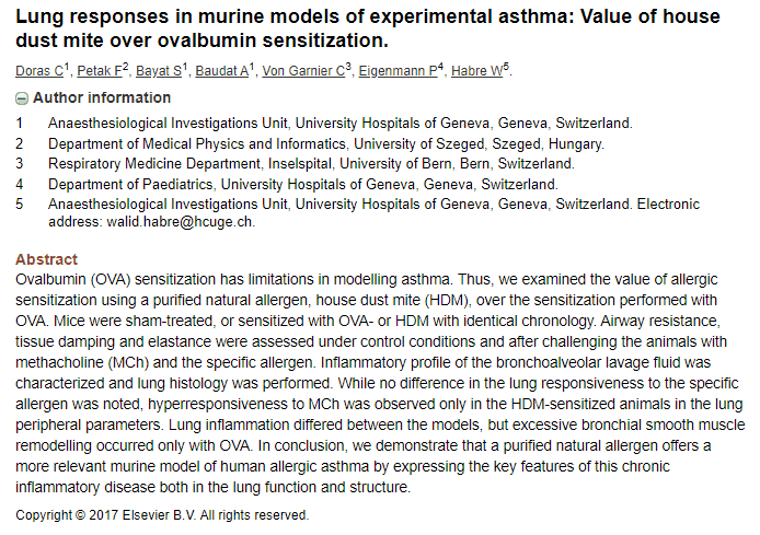 lung response in murine models